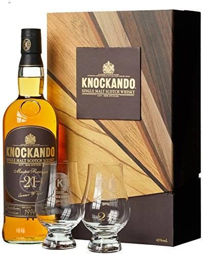 whisky du speyside Knockando 21 ans coffret 2 verres
