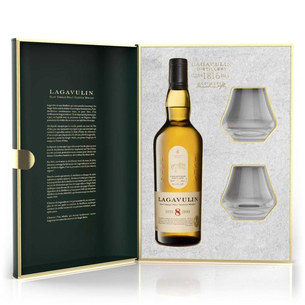 Whisky d'islay Lagavulin 8 ans coffret 2 verres