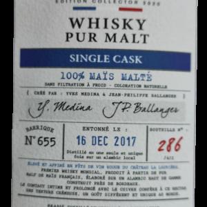 whisky de Bordeaux Moon Harbour single cask 100% maïs malté 46%