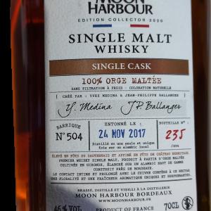 Whisky de bordeaux Moon Harbour single cask 100% orge maltée 46%